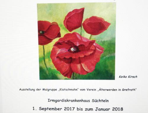 """Die Malgruppe """"Klatschmohn"""" lädt Sie herzlich ein zur Ausstellung vom 1. September 2017 -Januar 2018"""